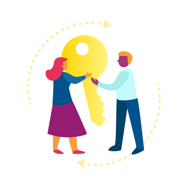 Illustration of a man and woman holding a giant key
